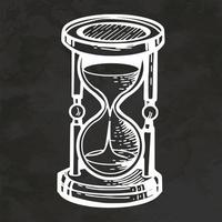 arte de línea de reloj de arena vidrio dibujado a mano estilo retro boceto vintage ilustración vectorial vector