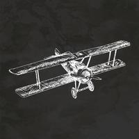 Retro Airplane Hand Drawn Retro Style Sketch Vintage Illustration Vector