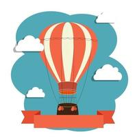 Abstract Background with Air Balloon and Clouds. Vector Illustration