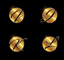 Golden Letter IJKL Monogram Initial Sign vector