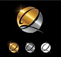 Golden Letter Q Monogram Initial Sign vector
