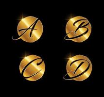 Golden Letter ABCD Monogram Initial Sign vector
