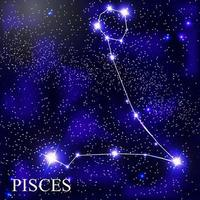 Pisces Zodiac Sign with Beautiful Bright Stars on the Background of Cosmic Sky Vector Illustration