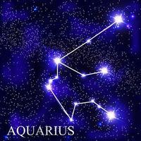 Acuario signo del zodíaco con hermosas estrellas brillantes en el fondo de la ilustración de vector de cielo cósmico