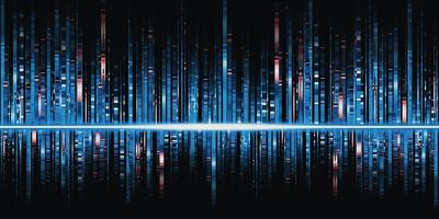 Frequency spectrum of blue sound wave photo