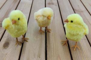 Tres pollos de juguete amarillo de pascua se colocan en las tablas. foto