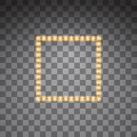 Shining golden led vector square frame, neon illumination. Glowing decorative square tapes of diode ecological lamps light effect for banners, web-sites