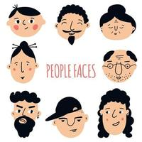 Set of peoples faces. Hand-drawn graphics. Different men and women. Cartoon characters. Vector illustration
