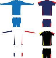 kit de fútbol medias mangas y mangas completas vector