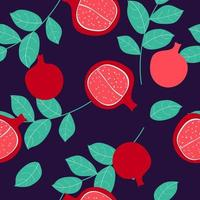 Seamless pattern with pomegranate fruits background. Vector Illustration