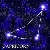 Capricornio signo del zodíaco con hermosas estrellas brillantes en el fondo de la ilustración de vector de cielo cósmico