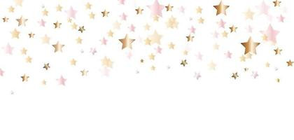 Abstract Golden Glossy Confetti Star Background. Vector Illustration