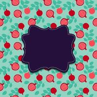 Background with pomegranate and Frame. Vector Illustration