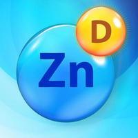Mineral Zn Zinc Azul Brillante Píldora Icono De Cápsula Vitamina D. ilustración vectorial vector