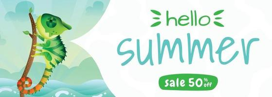 summer sale banner with a cute chameleon using summer costume vector