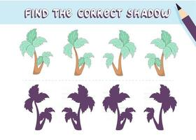 Find the correct shadow. Cute palm tree. Educational game for kids. Collection of children's games. Vector illustration in cartoon style