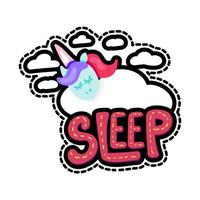 Unicorn with sleep lettering patch vector