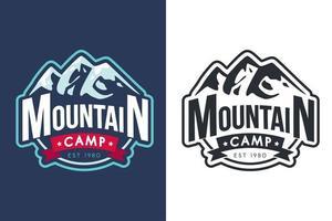 Mountain camp vector monochrome logo template