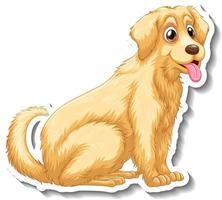 Sticker design with golden retriever dog isolated vector