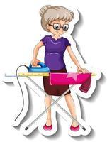 una plantilla de pegatina con un personaje de dibujos animados de camisa de planchar anciana vector