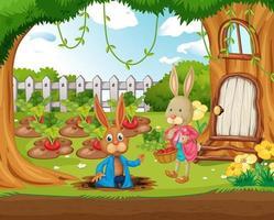 Outdoor scene with many happy rabbits in the garden vector