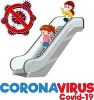 Coronavirus font design with kids using escalator isolated on white background vector