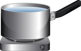 A saucepan with water on stove in cartoon style vector