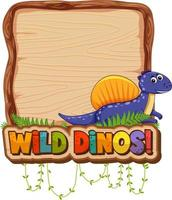 Empty board template with cute dinosaur on white background vector