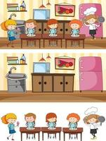 Set of kitchen scene with many kids doodle cartoon character vector