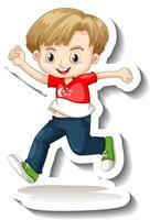 A sticker template with a boy wearing Singapore flag t-shirt cartoon character vector