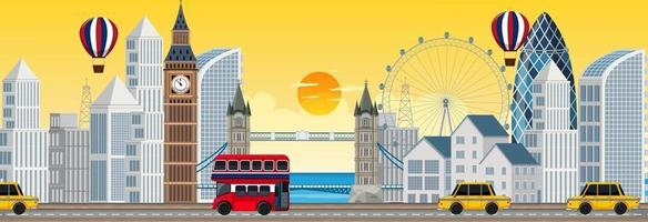 London city horizontal scene at sunset time vector