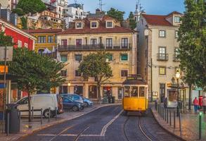 Lisbon tramway near Miradouro de Santa Luzia photo