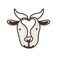 cute goat farm animal character vector