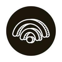 icono de estilo de bloque de doodle de señal wifi vector