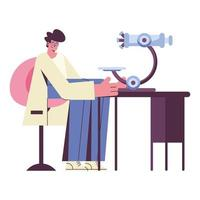 doctor with microscope vector