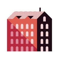 five story building red color minimal city icon vector