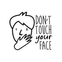 dont touch your face lettering campaign with man hand made line style vector