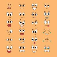 cartoon expressions with mouths and eyes vector