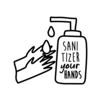 sanitizer your hands lettering campaign in bottle hand made line style vector