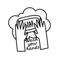 wash your hands lettering campaign with soap bar line style vector