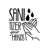sanitizer your hands lettering campaign hand made line style vector