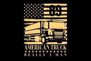 T-shirt typography truck american flag vintage vector