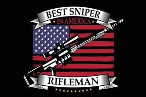 camiseta tipografía francotirador bandera americano fusilero estilo vintage vector