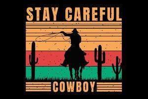 T-shirt silhouette cowboy cactus retro vintage vector