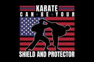 camiseta silueta karate bandera americana estilo vintage vector