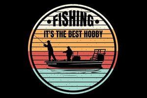 T-shirt silhouette fishing retro style vintage vector