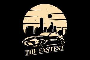 T-shirt silhouette car race city style retro vintage vector