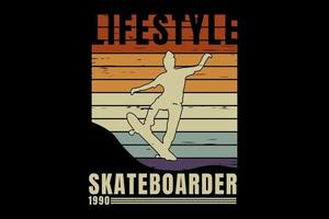 T-shirt silhouette skateboarder lifestyle retro vintage vector