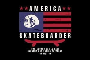 T-shirt america skateboard flag vintage style vector