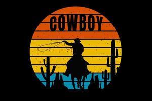 T-shirt silhouette cowboy cactus stone mount retro style vector